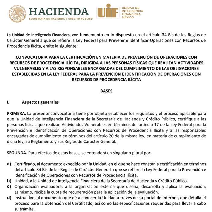 Certificación PLD Actividades Vulnerables UIF