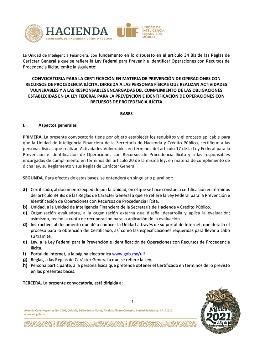 CONVOCATORIA UIF CERTIFICACIÓN PLD ACTIVIDADES VULNERABLES